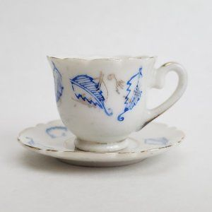 Vintage Miniature Tea Cup & Saucer Porcelain Japan